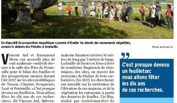 Bilan des fouilles et prospections 2017 en Charente – Charente Libre 03/05/2018